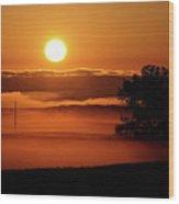 Rising Sun Lighting Ground Fog Wood Print