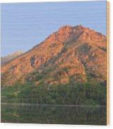Rising Wolf Mountain At Dawn Wood Print