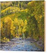 River And Aspens Wood Print