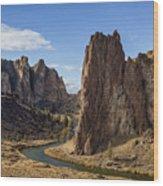 River And Rock Wood Print