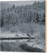 River Bend Winter Wood Print