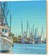 Darien Shrimp Boats Wood Print