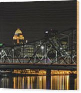 Ohio River Bridges And Louisville Skyline Wood Print