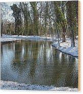 River Cherwell Meandering Through Christ Church Meadows Oxford Uk. Wood Print