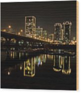 River City Lights At Night Wood Print