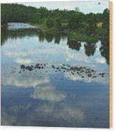 River Cloud Reflection Wood Print