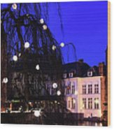 River Dijver, Rozenhoedkaai Area At Night, Bruges City Wood Print