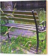 River Fishing Bench Wood Print