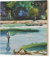 River Fishing Wood Print