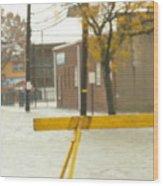 River Flowing Down The Street Hackensack Nj Wood Print
