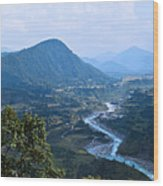 River  Flowing From Mountain Wood Print