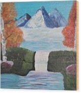 River Flowing Through Mountains Wood Print