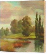 River Flowing Through The Landscape H B Wood Print