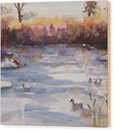 River Geese Wood Print