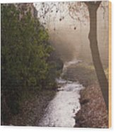 River In Afternoon Sunhaze  Wood Print