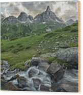 River In The French Alps Wood Print