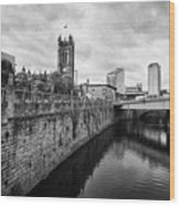 river irwell flowing between manchester on the left and salford on the right Manchester uk Wood Print