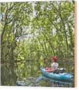 River Kayak Wood Print