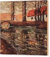 River Landscape Wood Print