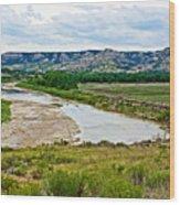 River Landscape In Northwest North Dakota  Wood Print