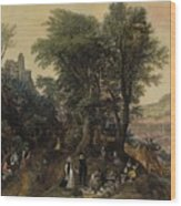 River Landscape In The Spring With Castle And Noblemen Wood Print