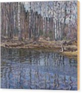 River Landscape Nikolai Petrovich Bogdanov-belsky Wood Print