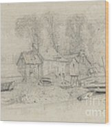 River Landscape With Buildings, Boats, And Figures Wood Print