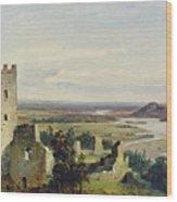 River Landscape With Castle Ruins Wood Print