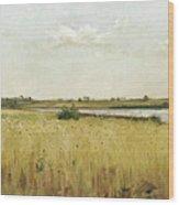 River Landscape With Cornfield Wood Print