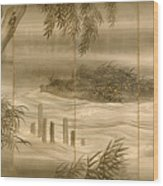River Landscape With Fireflies  Wood Print