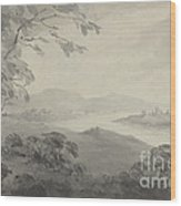 River Landscape With Ruins Wood Print