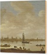 River Landscape With View Of Vianen Wood Print