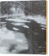 River Of Melting Ice Wood Print