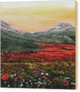 River Of Poppies Wood Print