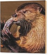 River Otter With His Catch Of The Day Wood Print