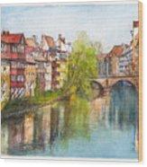 River Pegnitz In Nuremberg Old Town Germany Wood Print