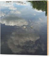 River Reflection Of Clouds Wood Print