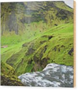 River Skoga And Green Nature In Iceland Wood Print