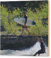 River Surfers Snake River Wood Print