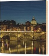 River Tiber And Vatican At Night Wood Print