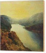 River Valley Sunrise Wood Print