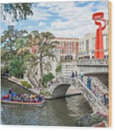 River Walk View San Antonio Wood Print