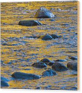 River Water And Rocks Wood Print