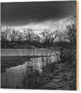 River With Dark Cloud In Black And White Wood Print