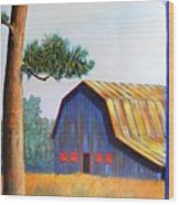 Riverbank Barn Wood Print