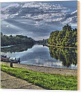 Riverbank Boats Wood Print