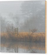 Riverbank In The Fog Wood Print