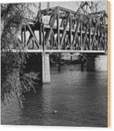 Riverfront Bridge Wood Print