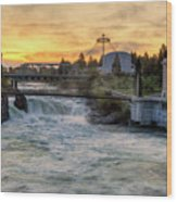 Riverfront Park Sunrise Wood Print
