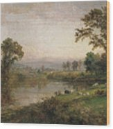 Riverscape In Early Autumn Wood Print